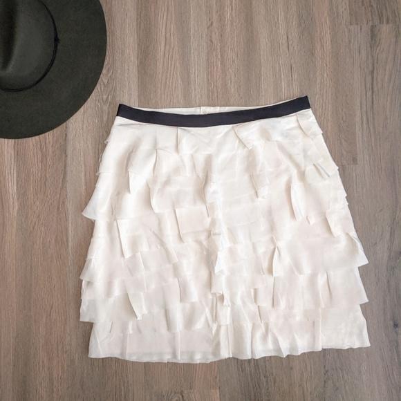 Club Monaco White Tiered Silk Mini Skirt Size 8